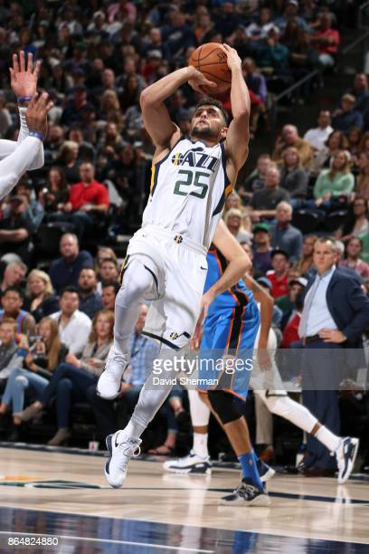 Raul Neto of the Utah Jazz shoots the ball during a game against the Oklahoma City Thunder on October 21 2017 at Vivint Smart Home Arena in Salt Lake...