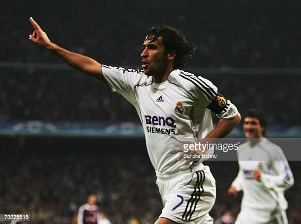 Raul of Real Madrid celebrates after scoring the opening goal during the UEFA Champions League round of sixteen first leg match between Real Madrid...