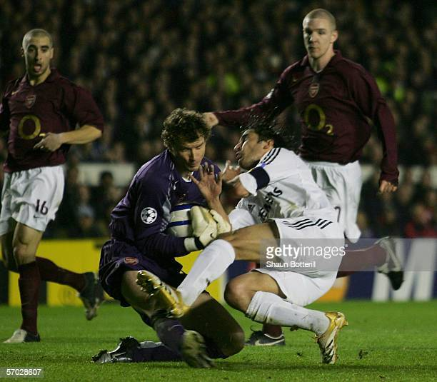 Raul of Real Madrid clashes with Jens Lehmann of Arsenal during the UEFA Champions League Round of 16 Second Leg match between Arsenal and Real...
