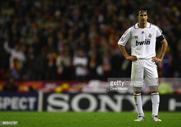 Raul of Real Madrid shows his dejection at the end of the UEFA Champions League Round of Sixteen Second Leg match between Liverpool and Real Madrid...
