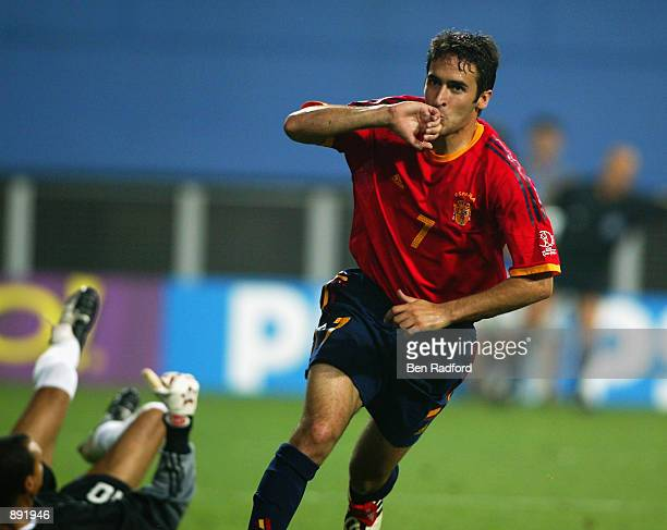 Raul of Spain celebrates scoring the third goal during the Spain v South Africa Group B World Cup Group Stage match played at the Daejeon World Cup...