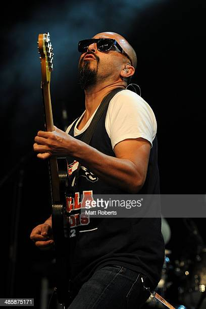 Raul Pacheco of Ozomamatli performs live for fans at the 2014 Byron Bay Bluesfest on April 21 2014 in Byron Bay Australia
