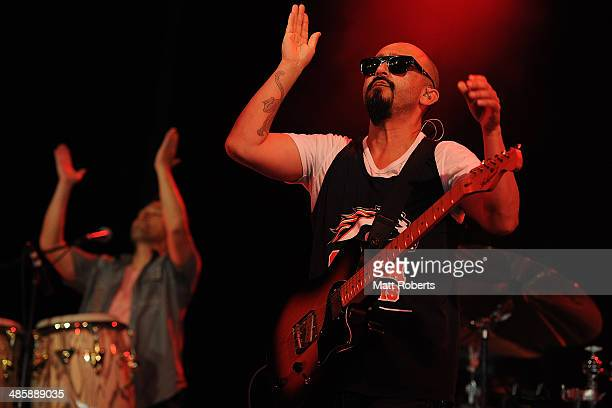 Raul Pacheco of Ozomatli performs live for fans at the 2014 Byron Bay Bluesfest on April 21 2014 in Byron Bay Australia
