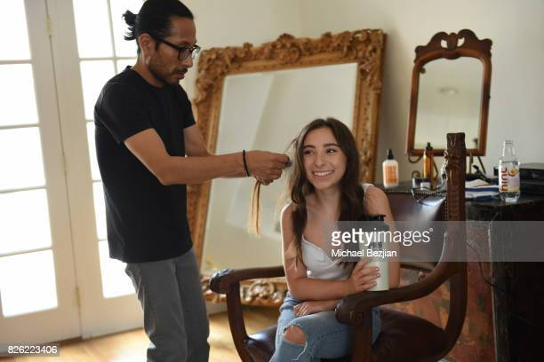 Raul Padilla and Ali Levine make over and style Ava Cantrell At TAP The Artists Project Style House on August 3 2017 in Los Angeles California