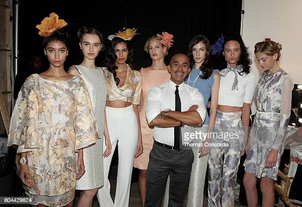Raul Penaranda poses backstage with models at Kia STYLE360 Hosts Raul Penaranda Spring 2017 Momentum Fashion Show on September 13 2016 in New York...