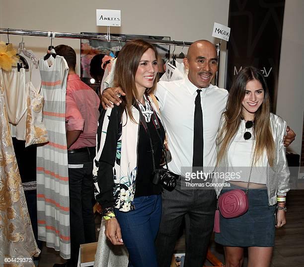 Raul Penaranda poses with guests backstage at Kia STYLE360 Hosts Raul Penaranda Spring 2017 Momentum Fashion Show on September 13 2016 in New York...