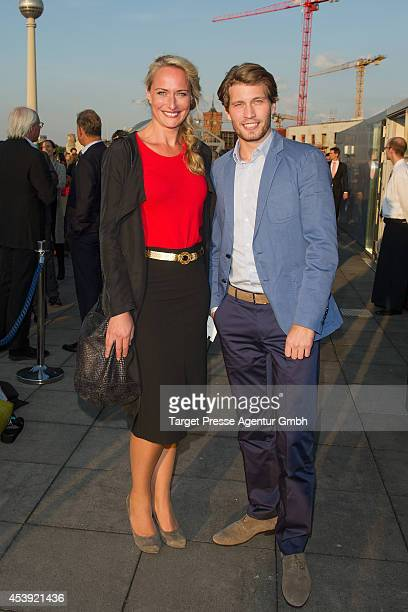Raul Richter and Eva Mona Rodekirchen attend the UFAMovie Nights 2014 at Bertelsmann Repraesentanz on August 21 2014 in Berlin Germany
