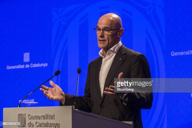 Raul Romeva Catalonia's head of foreign affairs gestures as he speaks during a news conference in Barcelona Spain on Tuesday Oct 17 2017 The Spanish...