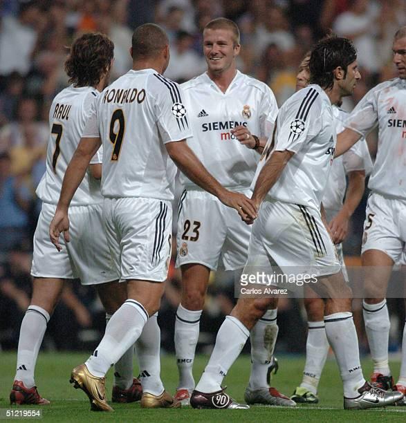 Raul Ronaldo David Beckham Figo and Zidane during the UEFA Champions League Qualifying match between Real Madrid and Wisla Krakow at The Bernabeu on...