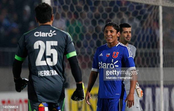 Raul Rudiaz of Universidad de Chile celebrates his goal during penalty's against Libertad as part of the Copa Libertadores 2012 at National Stadium...