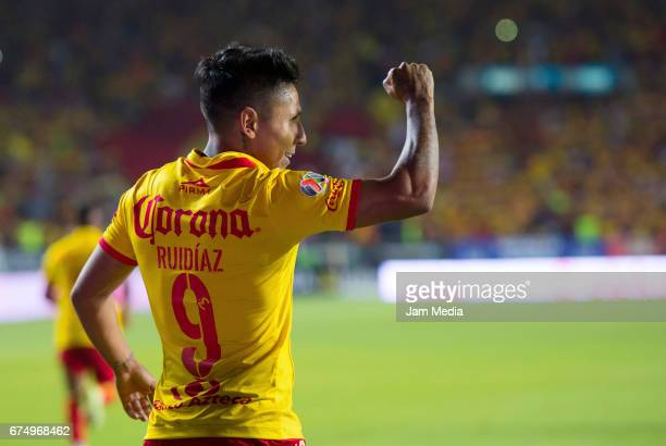 Raul Ruidiaz of Morelia celebrates after scoring during the 16th round match between Morelia and Pumas as part of the Torneo Clausura 2017 Liga MX at...