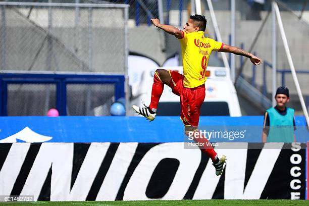 Raul Ruidiaz of Morelia celebrates after scoring the first goal of his team during the 16th round match between Pumas UNAM and Morelia as part of the...