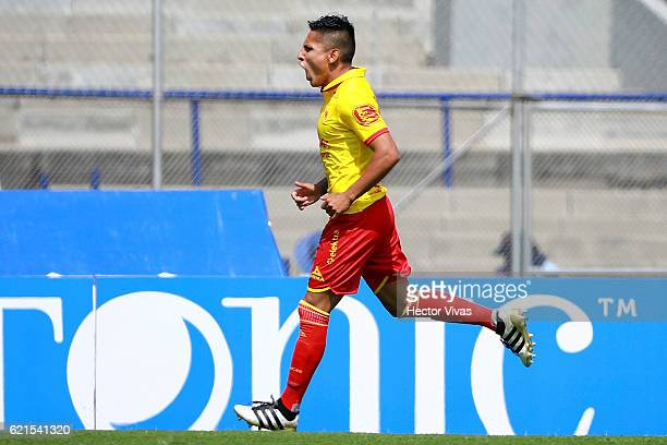 Raul Ruidiaz of Morelia celebrates after scoring the first goal of his team during the 16th round match between Pumas UNAM and Tigres UANL as part of...