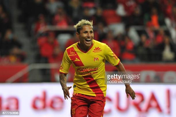 Raul Ruidiaz of Morelia celebrates his goal against Toluca during their quarter final Mexican Apertura tournament football match at the Nemesio Diez...