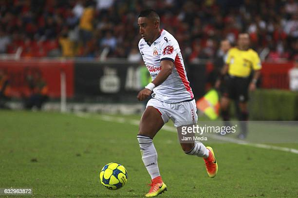 Raul Ruidiaz of Morelia drives the ball during a match between Atlas against Morelia the Clausura Tournament 2017 league Bancomer MX at Jalisco...