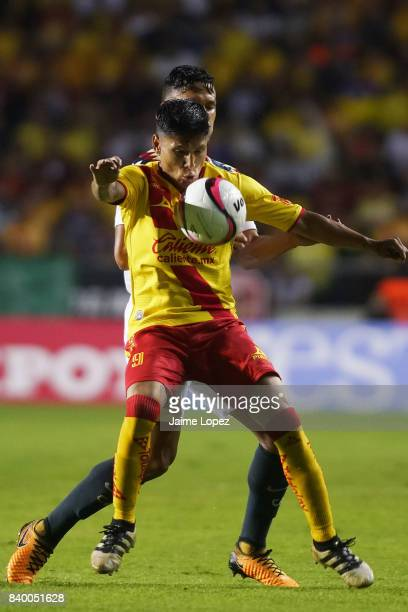 Raul Ruidiaz of Morelia tries to control the ball during the seventh round match between Morelia and America as part of the Torneo Apertura 2017 Liga...