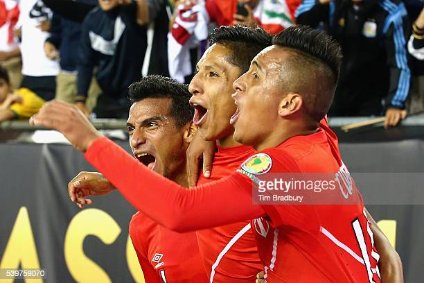 Raul Ruidiaz of Peru celebrates with teammates after scoring a goal in the second half against Brazil during a 2016 Copa America Centenario Group B...