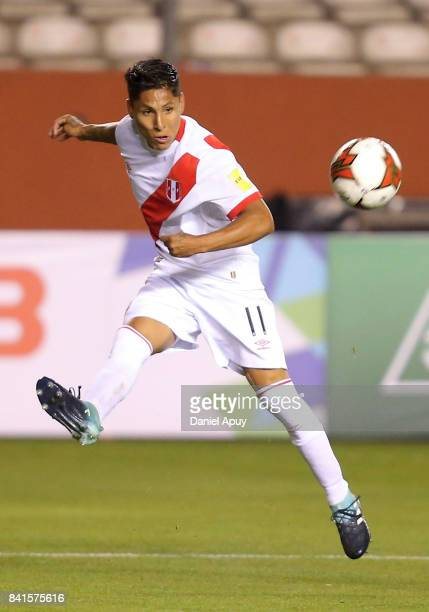 Raul Ruidiaz of Peru kicks the ball during a match between Peru and Bolivia as part of FIFA 2018 World Cup Qualifiers at Monumental Stadium on August...
