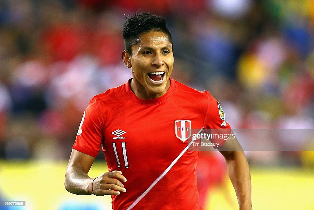 Raul Ruidiaz of Peru reacts in the second half against Brazil during a 2016 Copa America Centenario Group B match at Gillette Stadium on June 12 2016...