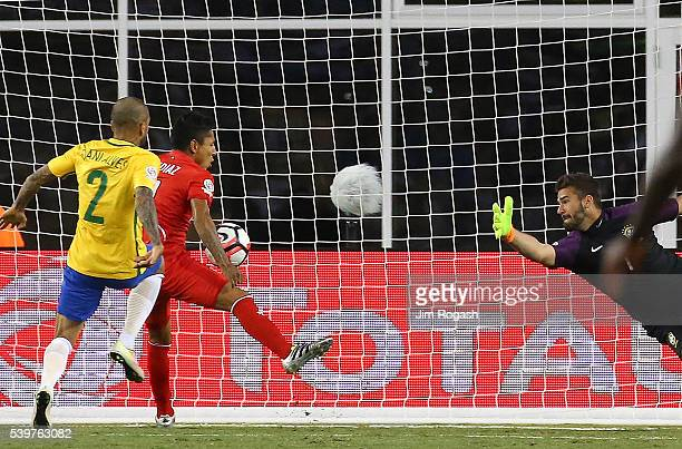 Raul Ruidiaz of Peru scores on Alisson Becker of Brazil in the second half during the 2016 Copa America Centenario Group B match against Brazil at...