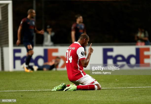 Raul Silva of Sporting Braga celebrates after a goal of Ahmed Hassan during the UEFA Europa League Group C match between Sporting Braga and Medipol...