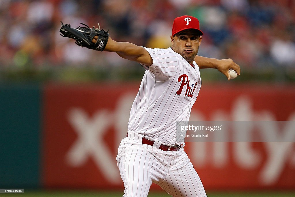 Raul Valdes #46 of the Philadelphia Phillies throws a pitch in the third inning of the game against the San Francisco Giants at Citizens Bank Park on July 31, 2013 in Philadelphia, Pennsylvania.