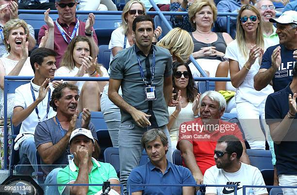 Raul Xisca Perello Maria Isabel Nadal Raul Sebastian Nadal Toni Nadal Carlos Costa look on during Rafael Nadal of Spain 4th round match on day 7 of...