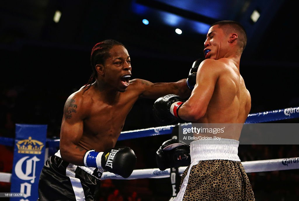 Rau'Shee Warren knocks out Richard Hernandez in the second round their Bantamweight fight at Atlantic City Boardwalk Hall on February 16, 2013 in Atlantic City, New Jersey.