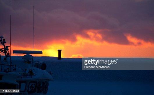 Rausu harbour at dawn.