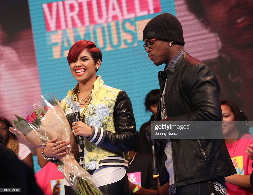 RaVaughn and Ne-Yo visit BET's '106 & Park' at BET Studios on February 21, 2013 in New York City.