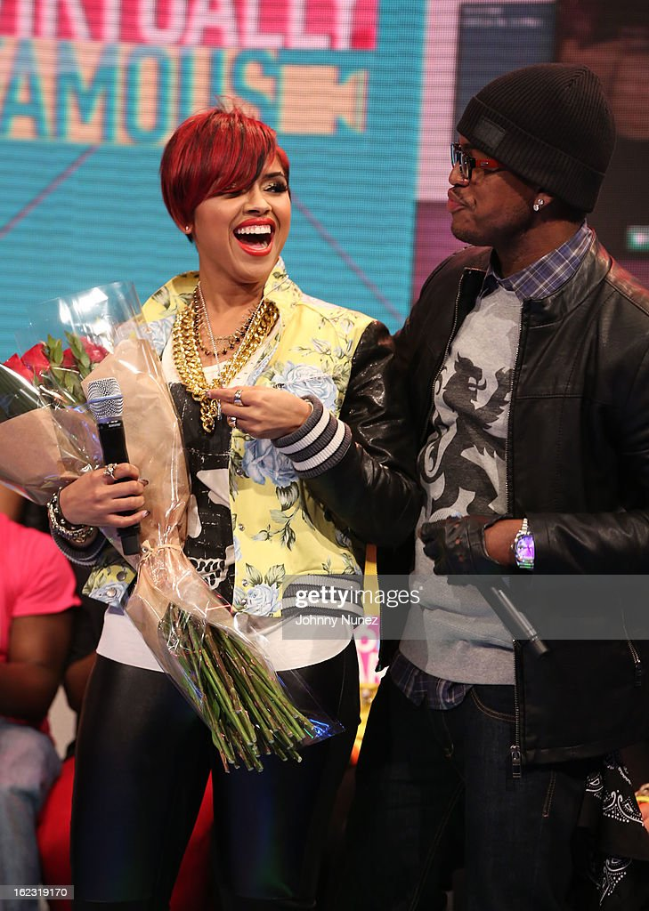 RaVaughn and <a gi-track='captionPersonalityLinkClicked' href=/galleries/search?phrase=Ne-Yo&family=editorial&specificpeople=451543 ng-click='$event.stopPropagation()'>Ne-Yo</a> visit BET's '106 & Park' at BET Studios on February 21, 2013 in New York City.