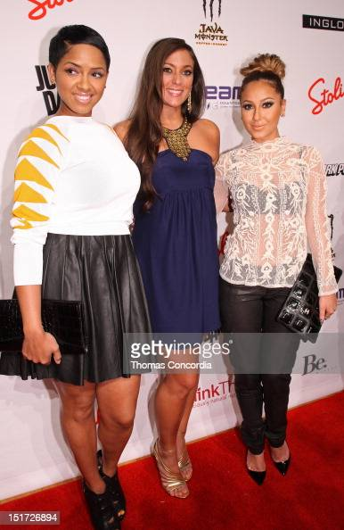 Ravaughn Brown designer Sammi Giancola and Adrienne Bailon arrive at the launch of Sammi Sweetheart Collection presented by STYLE360 on September 10...