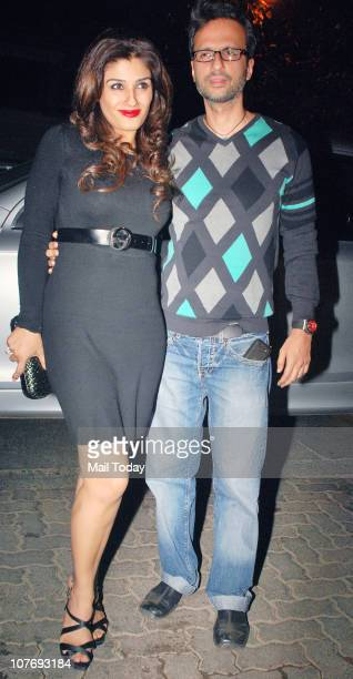 Raveena Tandon with husband Anil Thadani arrives at Sohail Khan's 40th birthday bash at Aurus in Mumbai