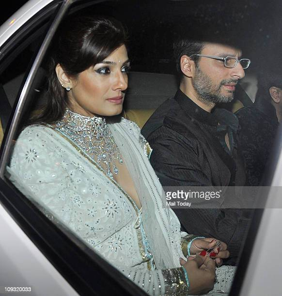 Raveena Tandon with husband Anil Thadani arrives to attend the sangeet ceremony of Lara Dutta and Mahesh Bhupathi at Club Fresh Goa