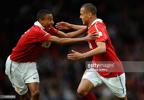 Ravel Morrison of Manchester United celebrates his first half goal with Jesse Lingard during the FA Youth Cup Final 2nd Leg match between Manchester...