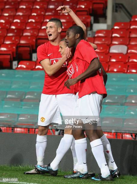 Ravel Morrison of Manchester United celebrates scoring their first goal during the FA Youth Cup Third Round match between Manchester United Academy...