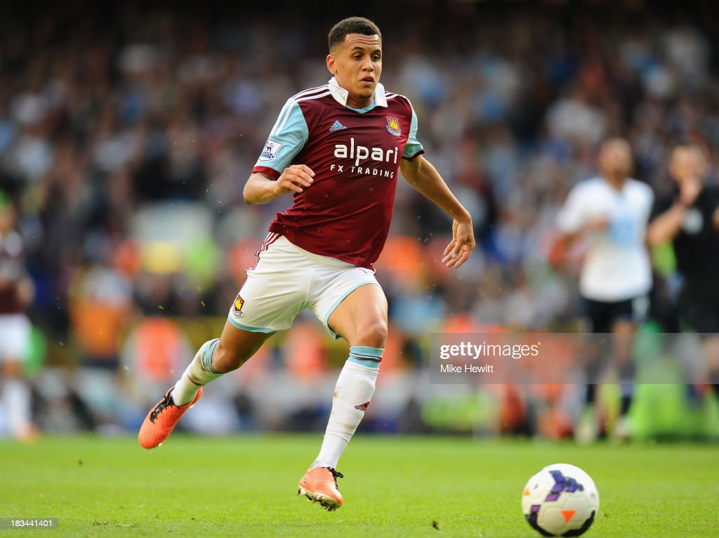 <a gi-track='captionPersonalityLinkClicked' href=/galleries/search?phrase=Ravel+Morrison&family=editorial&specificpeople=5621330 ng-click='$event.stopPropagation()'>Ravel Morrison</a> of West Ham charges upfield during the Barclays Premier League match between Tottenham Hotspur and West Ham United at White Hart Lane on October 6, 2013 in London, England.