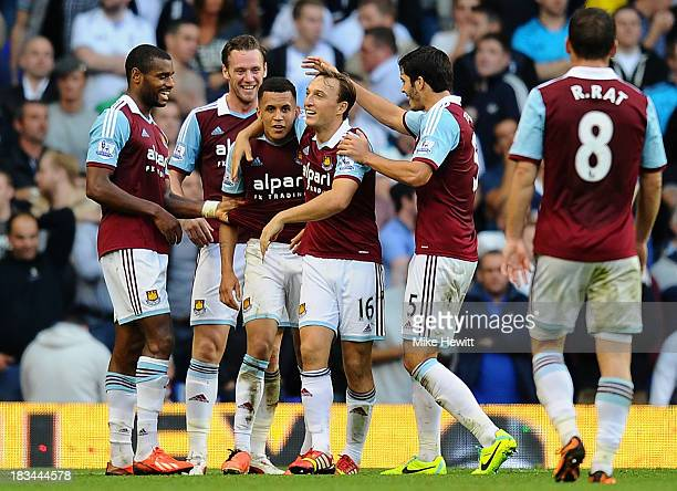 Ravel Morrison of West Ham is congratulated by team mates after scoring his side's third goal during the Barclays Premier League match between...