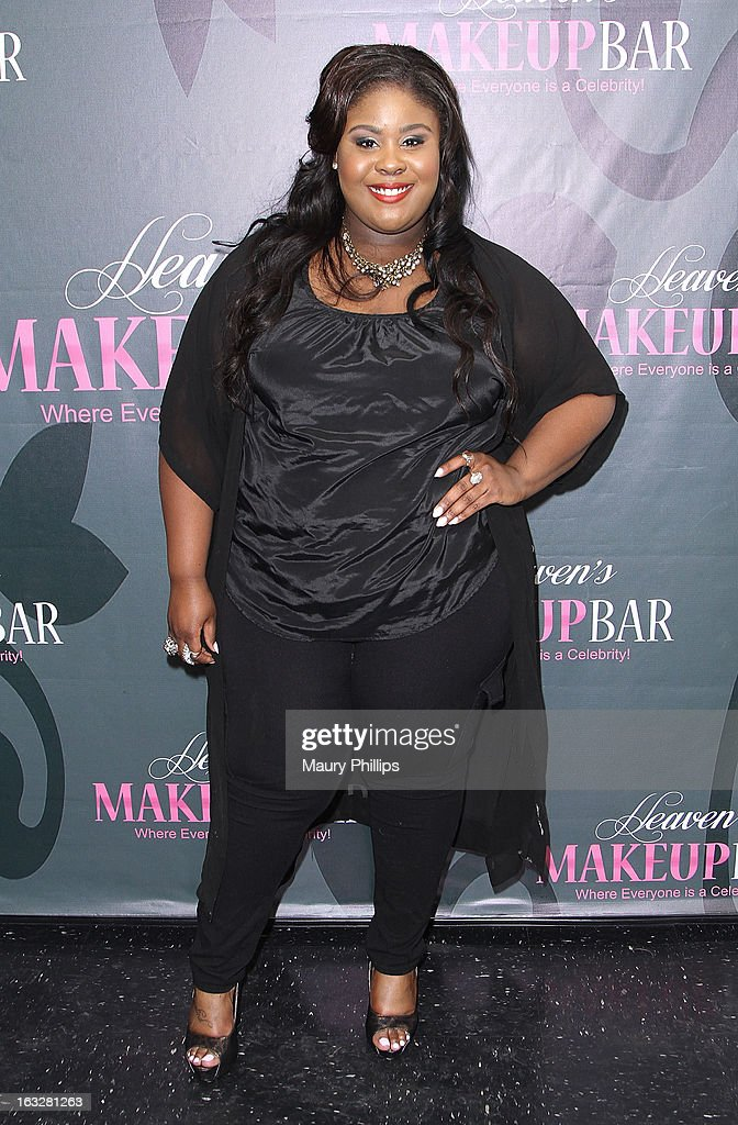Raven Goodwin attends the launch party for VH1's 'Love & Hip Hop' Star Erica Mena new cosmetic line 'Lady J Cosmetics' at Heaven's Makeup Bar on March 6, 2013 in Burbank, California.