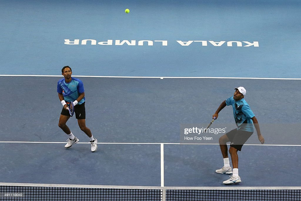 Raven Klaasen of RSA and Rajeev Ram of USA compete against Frantisel Cermak and Radek Stepanek of Czech Republic during the 2015 ATP Malaysian Open...