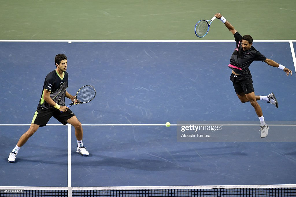 Raven Klaasen of South Africa and Marcelo Melo of Brazil compete against Juan Sebastian Cabal of Colombia and Robert Farah of Colombia during the men's doubles final match on Day Seven of the Rakuten Open 2015 at Ariake Colosseum on October 11, 2015 in Tokyo, Japan.