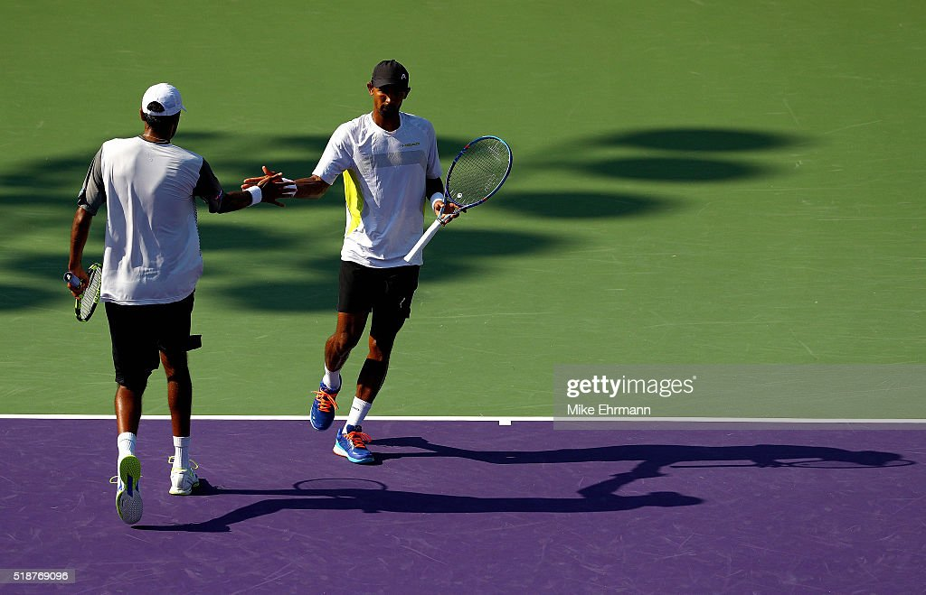 Raven Klaasen of South Africa and Rajeev Ram plays in the Doubles Final against PierreHugues Herbert and Nicolas Mahut of France during Day 13 of the...
