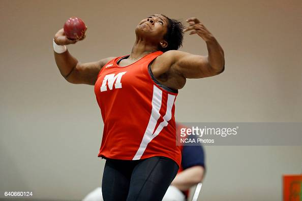 Raven Robinson of Monmouth puts the shot during the Division III Men's and Women's Indoor Track and Field Championships held at the Al B Carius Track...