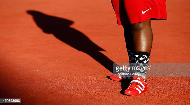 Raven Saunders of the US gets set to compete in the women's shot put during day four of the IAAF World Junior Championships at Hayward Field on July...