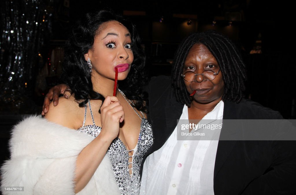 Raven Symone and Producer <a gi-track='captionPersonalityLinkClicked' href=/galleries/search?phrase=Whoopi+Goldberg&family=editorial&specificpeople=202463 ng-click='$event.stopPropagation()'>Whoopi Goldberg</a> (Whoopi played the role of 'Deloris Van Cartier' in the film) pose backstage at the hit musical 'Sister Act' on Broadway at The Broadway Theater on May 30, 2012 in New York City.
