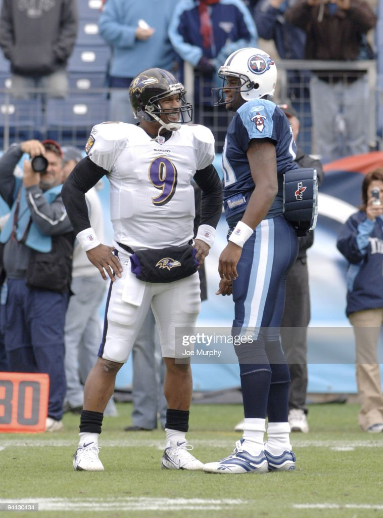 Ravens Steve McNair talks with Titans Vince Young during pregame warmups on November 12 2006 at LP Field in Nashville Tennessee