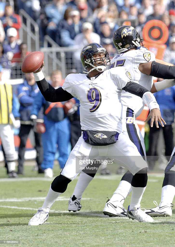 Ravens Steve McNair throws downfield during 1st half action between the Baltimore Ravens and the Tennessee Titans on November 12 2006 at LP Field in...