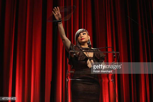 RavenSymone speaks on stage at TrevorLIVE New York honoring Sir Ian McKellen Representative Ryan Fecteau and Johnson Johnson for the Trevor Project...