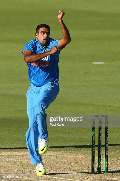 Ravi Ashwin of India bowls during the Victoria Bitter One Day International Series match between Australia and India at WACA on January 12 2016 in...