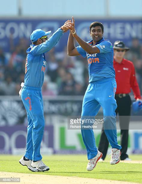 Ravi Ashwin of India celebrates taking the wicket of Eoin Morgan of England during the Royal London OneDay match between England and India at...